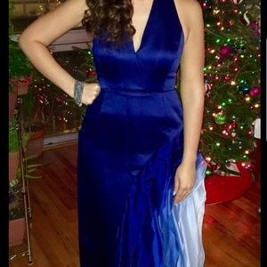 Halston Blue Waterfall Gown